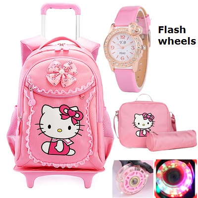 Hello Kitty Children School Bags Mochilas Kids Backpacks Wheel Trolley Luggage Girls backpack Mochila Infantil Bolsas - Bag's Heaven store