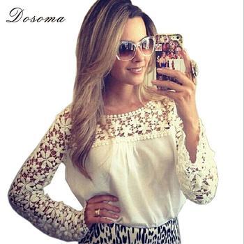New Women White Lace Blouses Floral Crochet Chiffon Shirt Chemisier Femme Blusas De Renda blusas camisas mujer Plus Size S-5XL