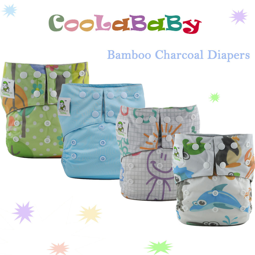 Reusable Diapers Nappy of 8 Coolababy Bamboo charcoal Washable Baby Cloth Diapers Nappies with 8 Charcoal Bamboo inserts(China (Mainland))