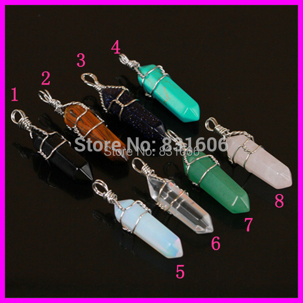 10pcs/lot Fashion Natural Mixed Gems Stone Healing Chakra Silver Color Wire Wrapped Plated Druzy Stone Charms Pendant