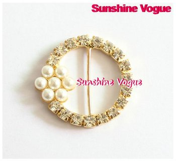 Rhinestone buckles, round shape with pearl flower, 25mm, golden claw, 100pcs/lot, garment/ hair accessories, CPAM free shipping