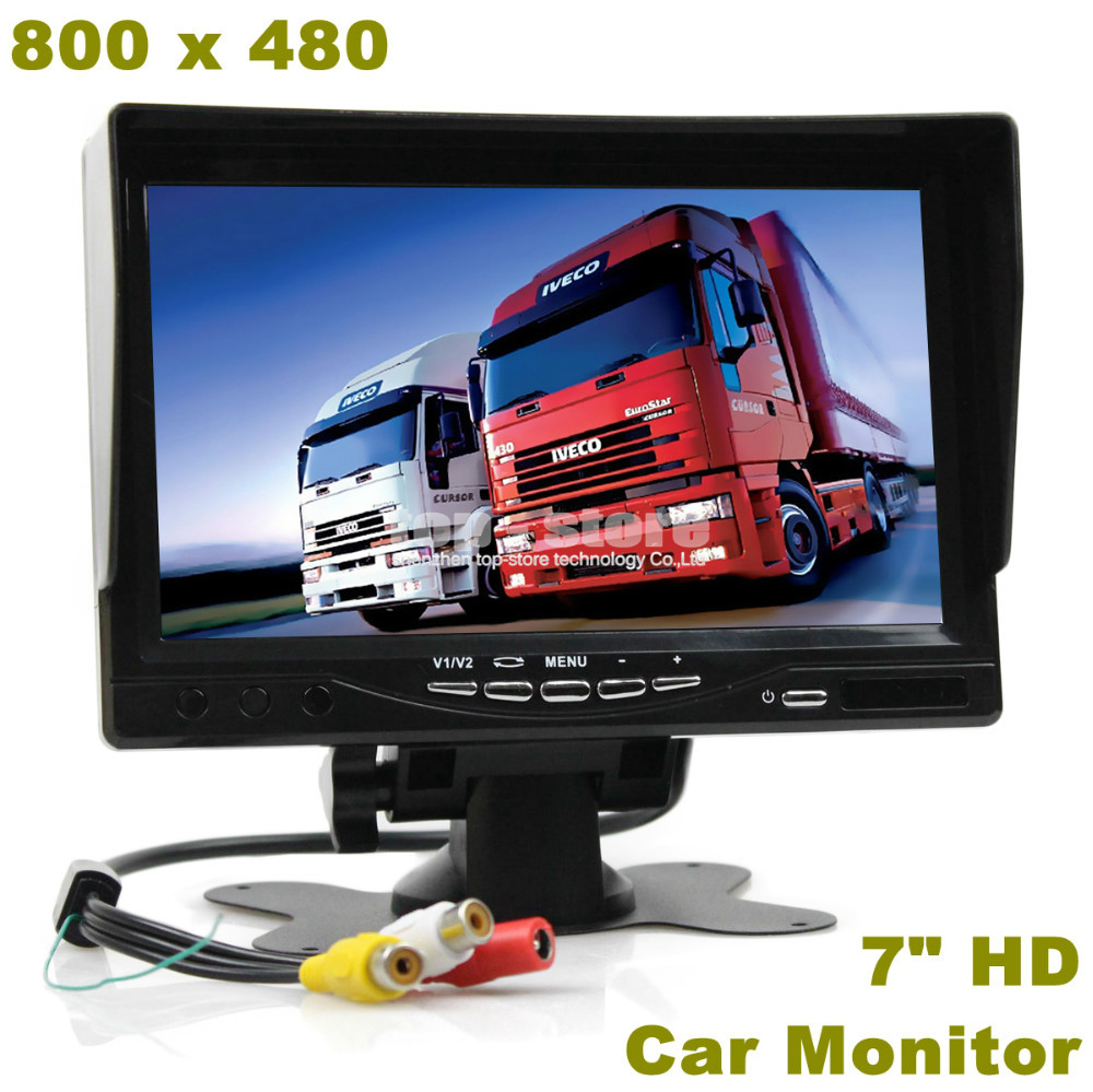 7 inch HD TFT LCD Car Monitor Display Car Reverse Rear View Monitor Screen AV Input Remote Control With Sun Shade(China (Mainland))