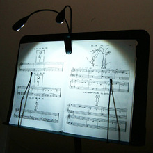 Hot Black Clip-on 2 Dual Arms 4 LED Flexible Book Music Stand Light Lamp Musical Instruments Parts &Accessories(China (Mainland))