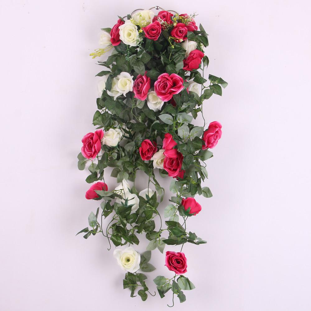 Artificial Rose Silk Flower Garland Ivy Vine Outdoor Indoor Hanging Decor White