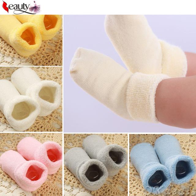 1 пара 0 - 2 лет хлопка носки осенью и зимой толстые махровые детские носки сплошной ...