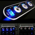 New 3 Sockets Way Car adapter with USB Port Plug DC Splitter with LED light 12V