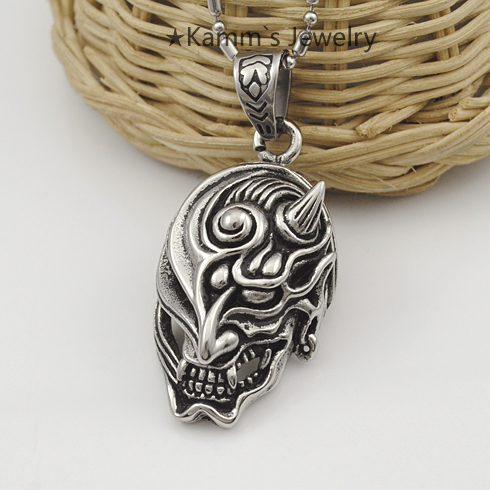 Rocker Punk Hit hop New Half face horned demon Stainless Steel Pendant Necklace Fashion Heavy Cool Wholesale Free shipping KP972<br><br>Aliexpress