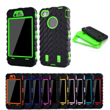 For iPhone 4s 4 4G case Tire Dual Layer Silicone Hard Plastic Cover Armor Hybrid Protection Plastic Mobile Phone case Cover(China (Mainland))