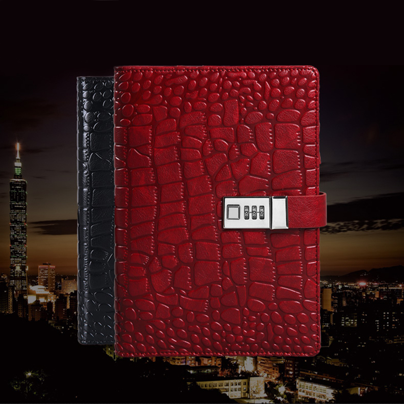New Business Diary with Lock A5 Spiral Leather Notebook paper 80 Crocodile Grain 80 sheets notepad Office school supplies Gift(China (Mainland))