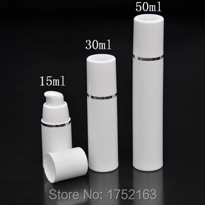 NEW Airless plastic bottles 30ml White Vacuum Pump Bottle With Silver Line,Lotion Packing Bottle,Cosmetic Container,Spray bottle(China (Mainland))