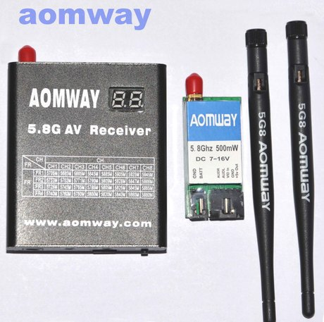 AOMWAY 5.8g 500mw Video AV Transmitter + 5.8G Receiver with DVR Recorder w/Antenna for FPV(China (Mainland))
