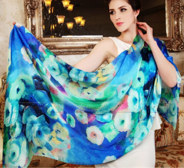 Fashion Womens Ladies 100 Silk Scarf Party Wraps Shawl Stole Bow Beach Long Scarves