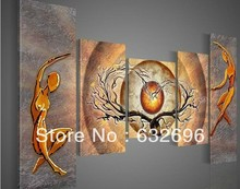 100% free shipping 5 piece of modern hand-painted oil painting abstract two gold love tree canvas art deco(China (Mainland))