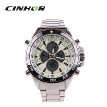 Besnew BN-0798 multifuncional deportivos para hombres electrónico + cuarzo reloj de pulsera – plata + blanco