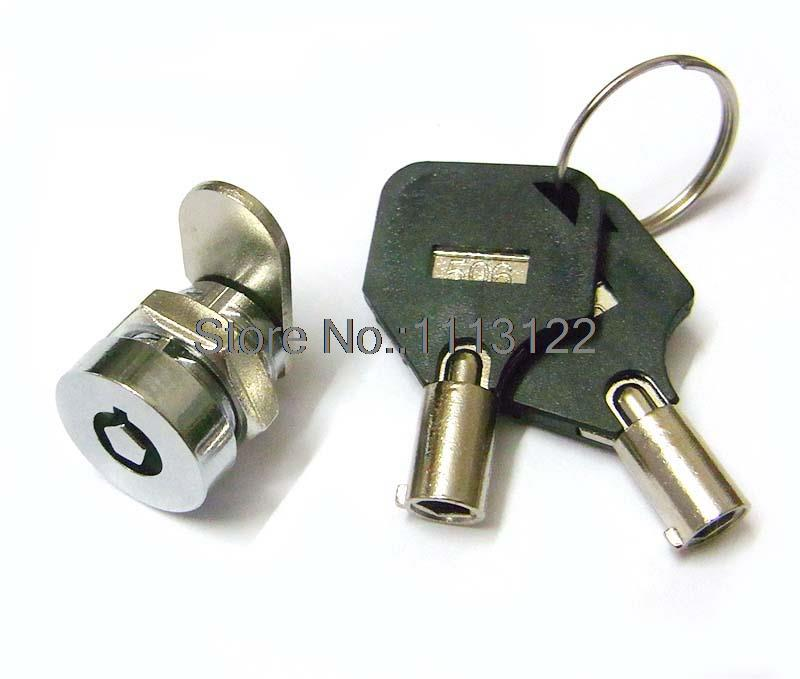 Pentagonal Cylinder Small Tubular Key Cam Lock Cylinder-shaped Lock Face 4 Pins Mini Tubular Cam Lock for computer case 5 Pcs(China (Mainland))