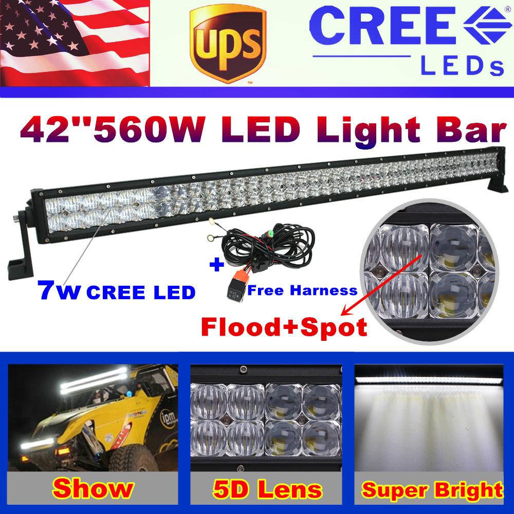 "560W 42"" CREE Straight LED Light Bar 5D Lens + Reflector Work Driving Car SUV ATV Offroad Fog Lamp Spot Flood Combo Beam 42 inch(China (Mainland))"