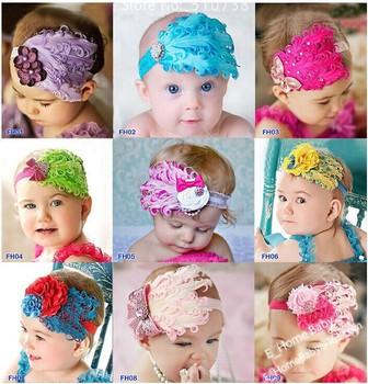 5pcs Baby Headwear hair accessories Feather Pad heads Flower headbands baby hairbands children's  hair flower + elasitc headband