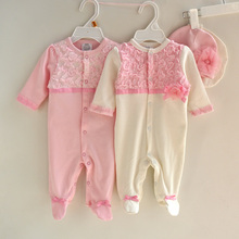 new 2015 autumn cotton lace pattern newborn rompers+hats 2pcs baby girls gifts clothes cute baby girls foot pajamas romper