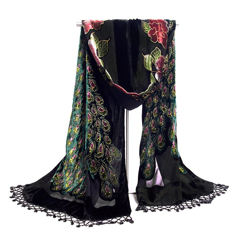 New Sale Black Chinese Womens Silk Velvet Shawl Beaded Embroider Scarf Scarves Flowers Peacock SE-05Одежда и ак�е��уары<br><br><br>Aliexpress