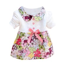 New Cute Baby Girls Clothes Kid One Piece Doll Collar Princess Lace Floral Dress Hot