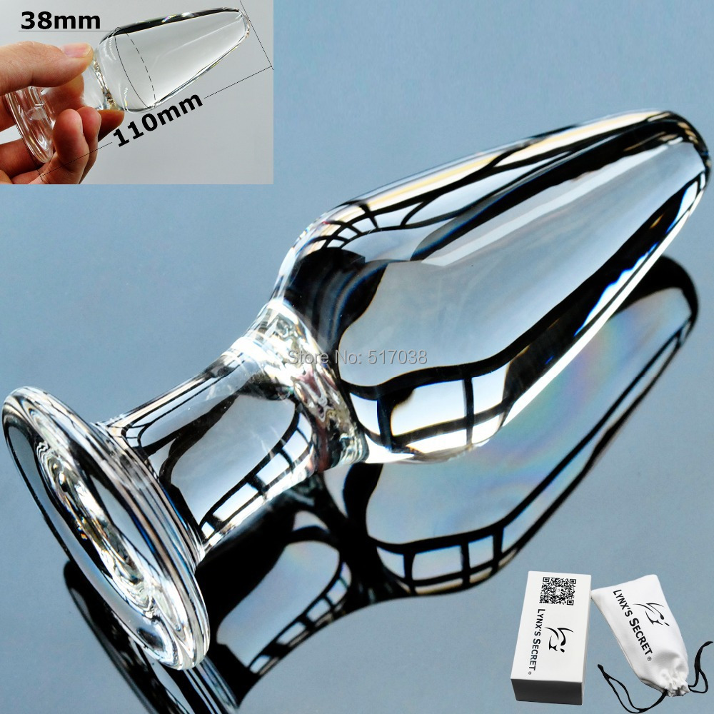 Sheer Pyrex glass Dildos crystal Anal butt plugs Sex toys for women men gay couples Adult female masturbation products with box(China (Mainland))