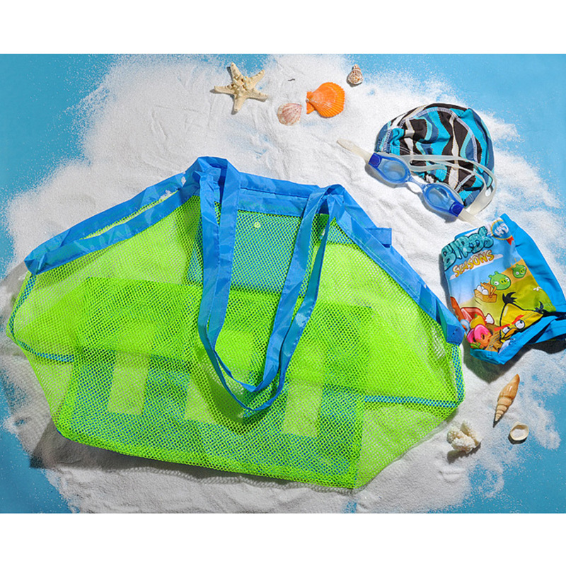 Creative Folding Baby Child Beach Mesh Bag Child Bath Toy Storage Bag Net Suction Cup Baskets for outdoor Hanging big volume(China (Mainland))