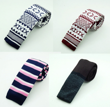 New Fashion Male Knit Tie Brand Slim Designer Mens Knitted Neck Ties Cravate Narrow Skinny Neckties For Men