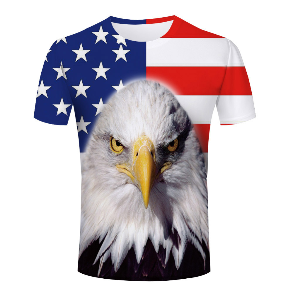 Eagle Logo Printing Male Tee Shirt American Style Short Sleeve 3D Men t-shirts Fashion Patchwork O Neck Animal Men Tee Shirt(China (Mainland))