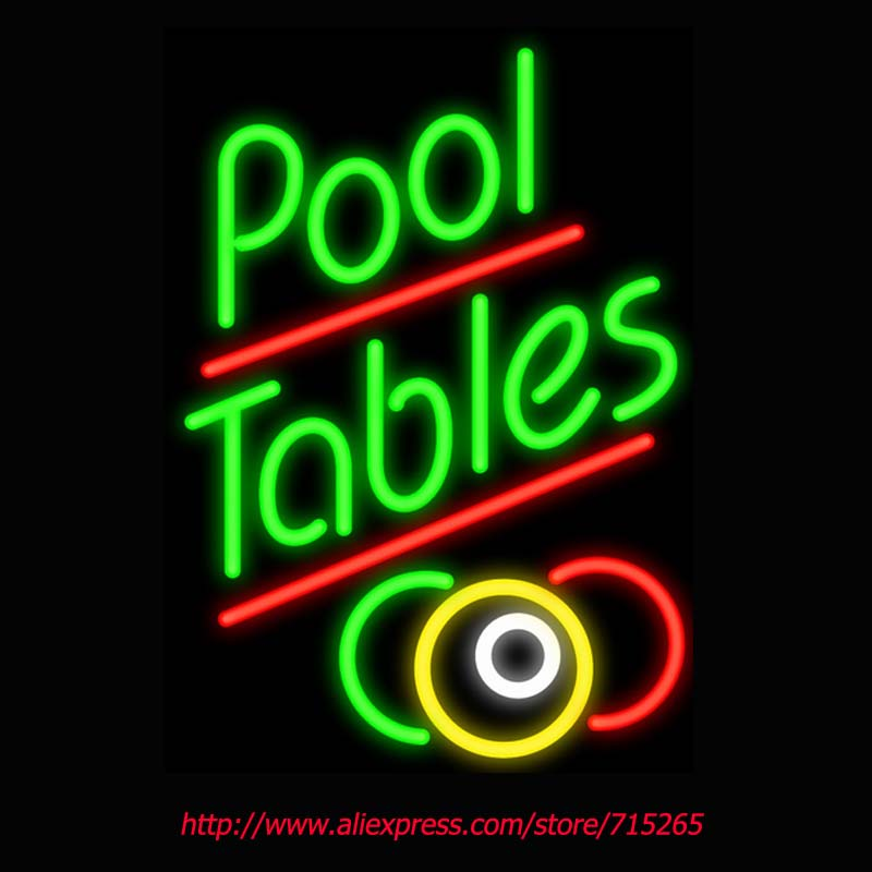 Pool Tables Neon Sign Board Neon Bulbs Light Guarage Display Real GlassTube Custom Handcrafted Business Light Decorate 20x15(China (Mainland))