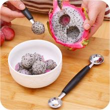 1 X novela Stalinless acero cocinar Dual doble Melon Baller Ice Cream Scoop Fruit Spoon(China (Mainland))