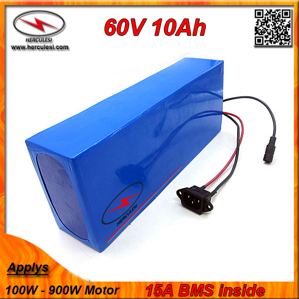 PVC cased 60 Volt Electric Bike Battery 10ah Lithium battery built 2000mah 18650 cell 15A BMS + 67.2V 2A CC/CV Charger - #1 Supplier store