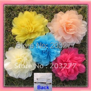 17 colors for your choose 41/2'' organza mesh silk flower alligator hair clip and brooch pin(China (Mainland))