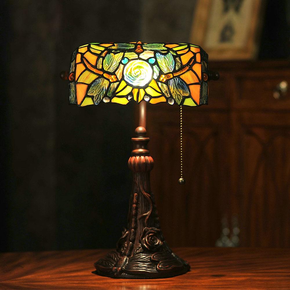 """Clássico Handmade Inlay resina mesa E27 sombra de vidro colorido Tiffany lâmpada de mesa luzes de cabeceira luz escritório artesanato 14 """" H(China (Mainland))"""