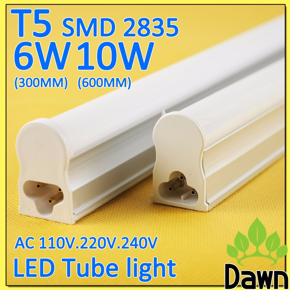 PVC Plastic 6W 10W LED Tube T5 Light 110V 220V 240V 60cm 30cm led wall lamp Warm Cold White led fluorescent T5 neon led T5 lamp(China (Mainland))