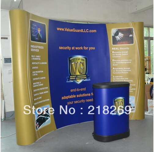 8X8ft High Quality!!! Magnetic Pop up Stand Banner with plastic trolley case table (free printing!!)(China (Mainland))