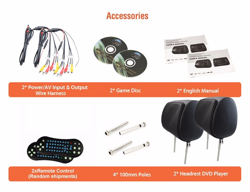 LCD Car Video Headrest IR FM Transmitter Car Monitor DVD Player x 2 Support 32 bit Game + Remote Controller + Headphones x 2
