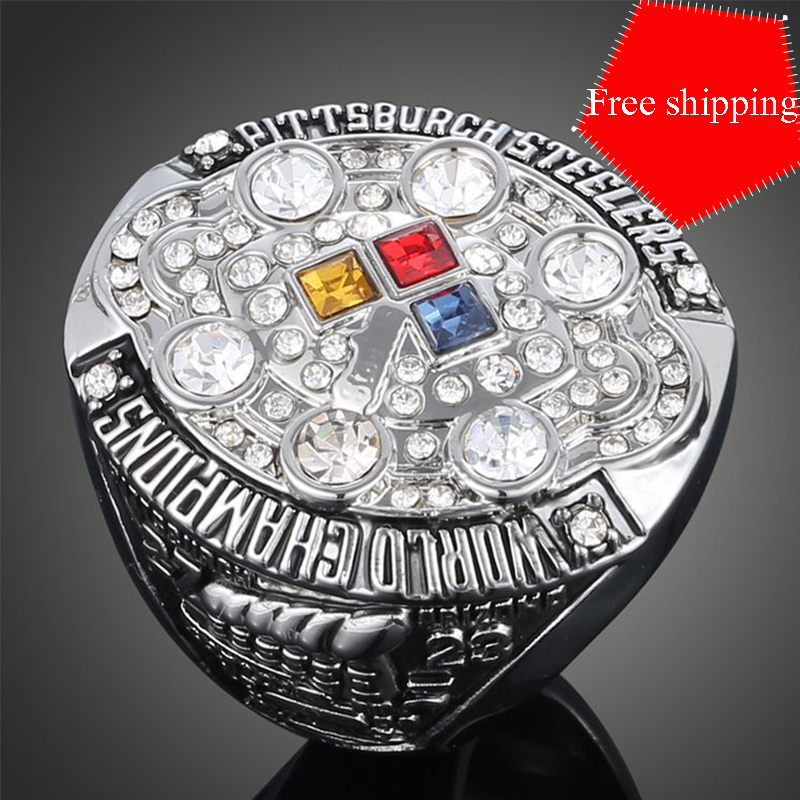 2015 Factory Wholesale Price sport Ring for 2008 replica Pittsburgh Steelers super bowl Championship Ring for men Free shipping(China (Mainland))