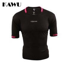 KAWU custom made Breathable Running men T Shirt 2017 Stripe sport Clothes Short Sleeve Sportwear plus size 4XL 5XL C17015(China)