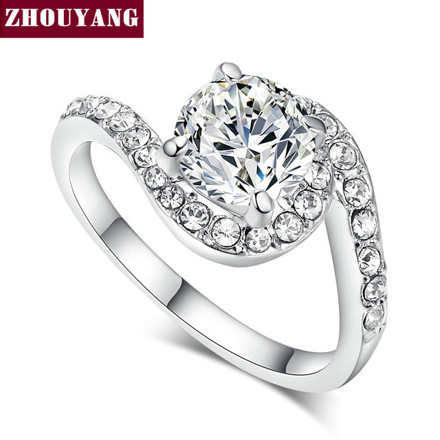 ZHOUYANG Top Quality ZYR077 CZ Wedding Ring  White Gold Plated  Austrian Crystals Full Sizes Wholesale & Dropshipping