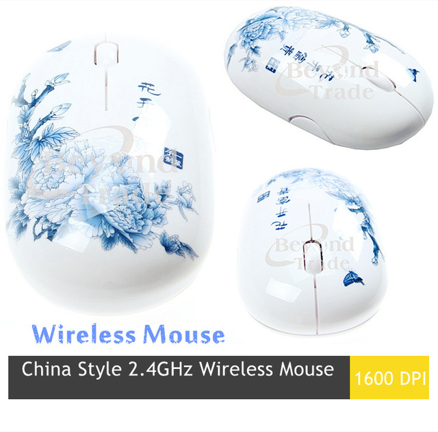 China Style 1600DPI 2.4GHz  Wireless Mouse For Laptops & Desktops Computer Optical  Mice Blue And White Porcelain