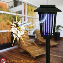 Solar Powered Square LED Anti Mosquito Insect Pest Bug Zapper Killer Trapping Lantern Lamp Outdoor Path Yard Garden Lawn Light(China (Mainland))