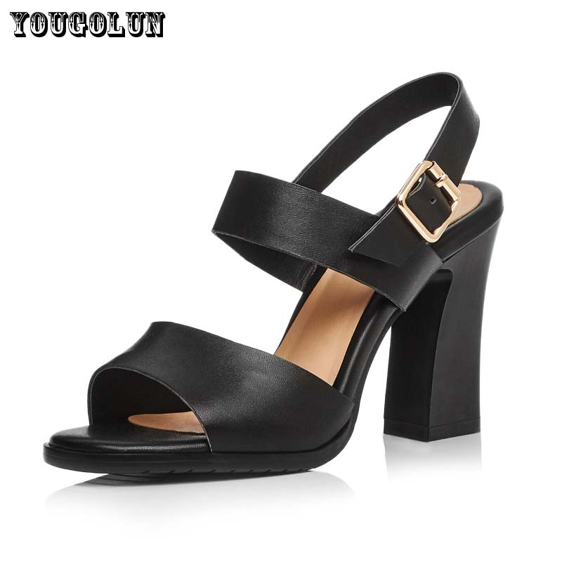 Summer Fashion Buckle Strap Women Sandals High Heels(10cm)Lady Round Toe Thick Heel Casual Shoes Genuine Soft Leather Black Shoe