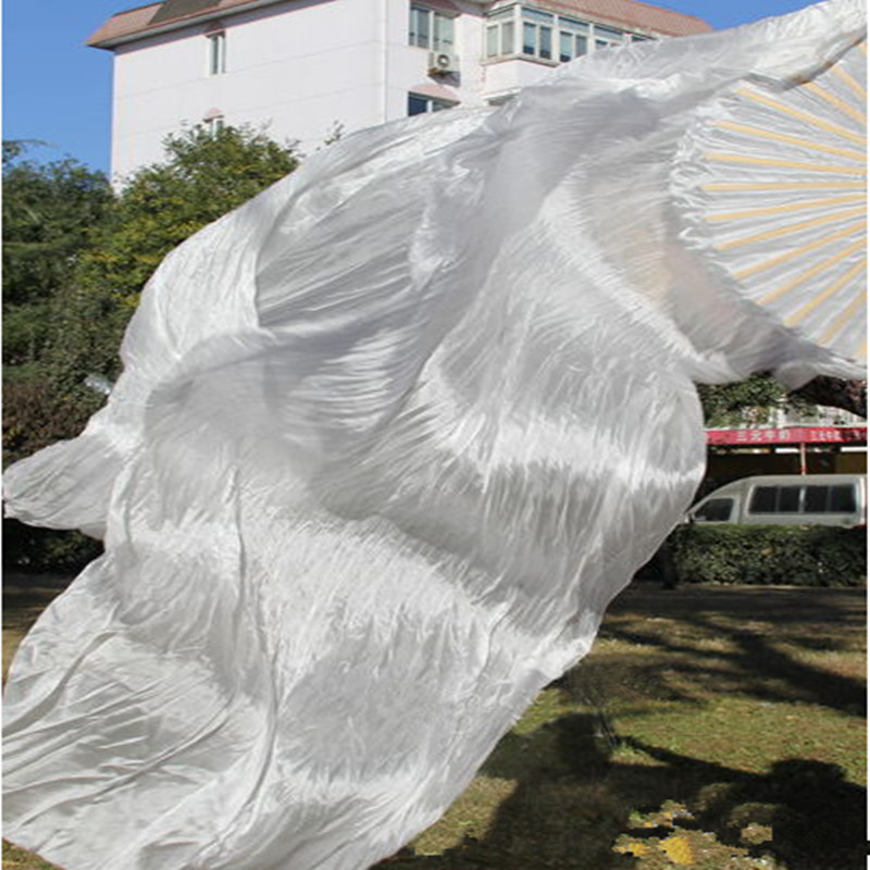 2016 NEW white Real Silk Belly Dance Fan Veils for Pair Dance fan veil best women new belly dance veil fan silk 180*90 cm(China (Mainland))