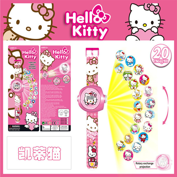 1PCS 2016 New Hello Kitty Toys Children Projection Cartoon Ironman Ninja Turtles Robot LED Digital Watch 20 Images Electric Toys