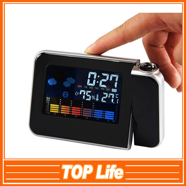 Multi-function Digital LCD Screen LED Alarm Clock Time Reminder Mini Desktop Projector Clock for bedroom Free Shipping YA(China (Mainland))