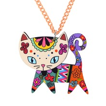 Buy Bonsny Cat Necklace Long Chain Acrylic Pendant 2015 Fashion Jewelry Women Spring Cute Animal Charm Collar Accessories for $3.99 in AliExpress store