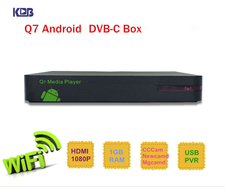 Q7 DVB C Android HD media player box with cccam newcamd receiver sharing upgrade of Q5 made in Shenzhen(China (Mainland))