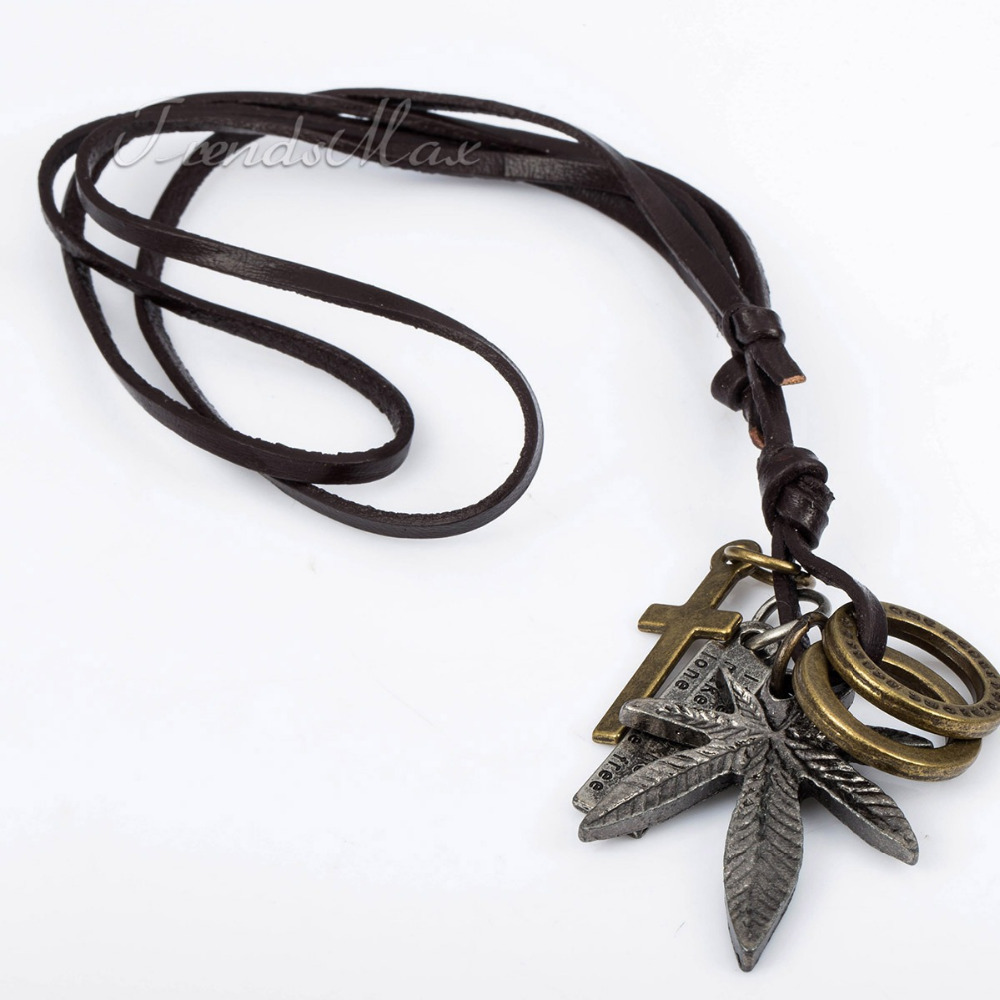 leaf mens cool surfer leather necklace choker fashion