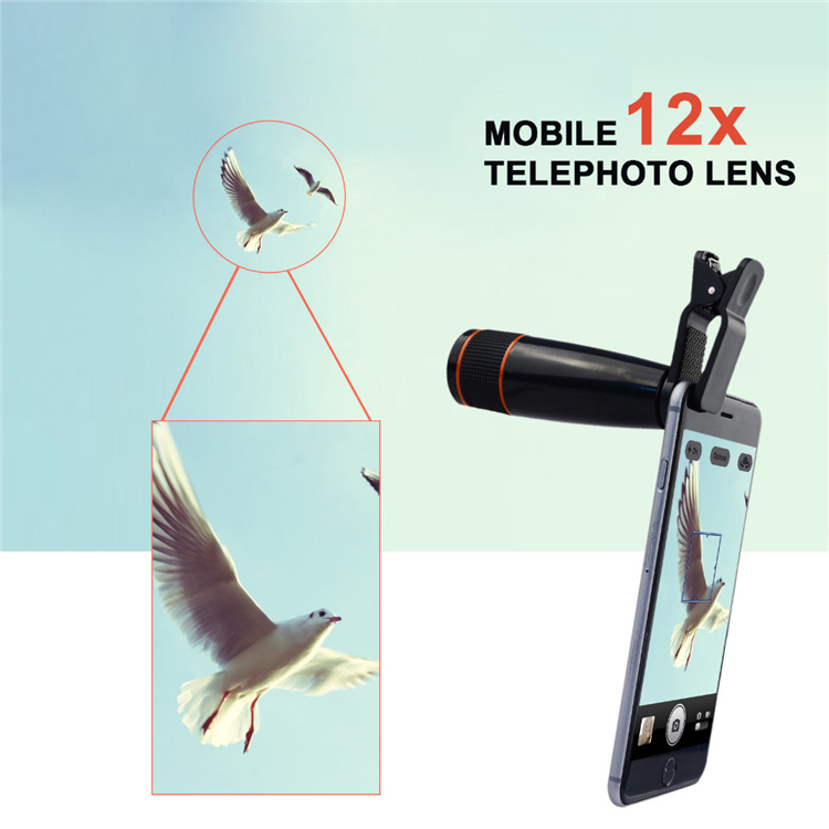 Free Shipping Universal Clip On 12X Telephoto Lens...
