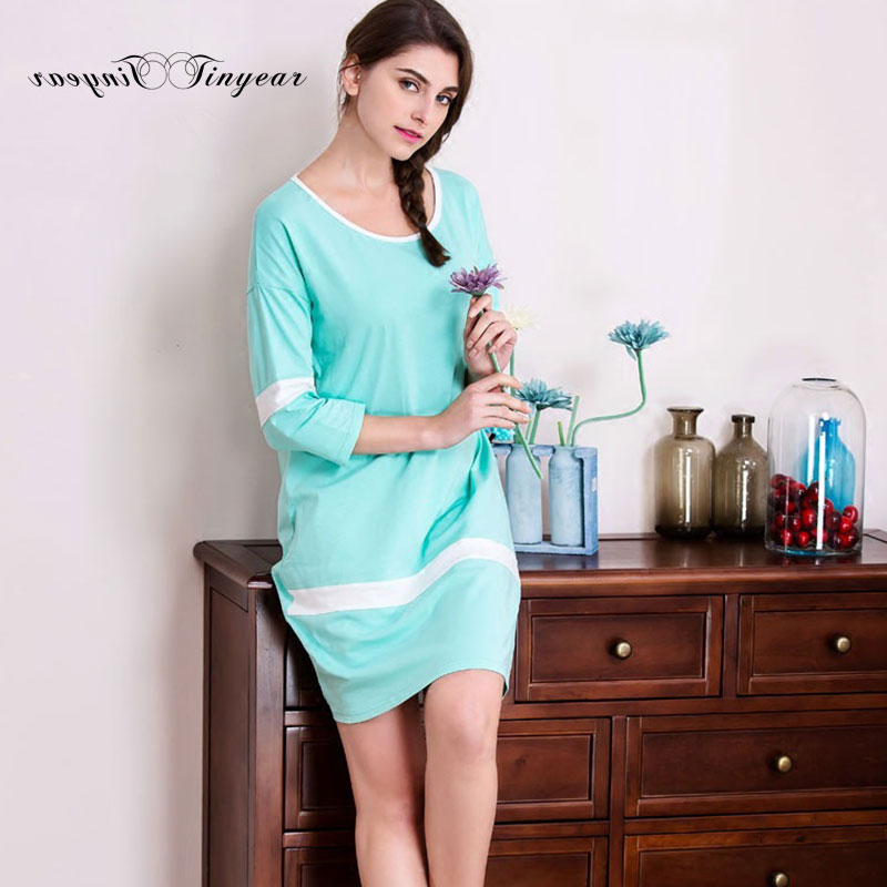 In stock adult girl cotton Nightgowns comfortable breathable sleepshirt light blue round neck women lounge wear sleepwear(China (Mainland))